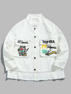 Graphic Stitch Frayed Denim Jacket - White Xl