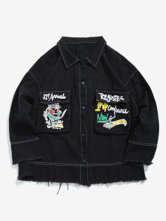Graphic Stitch Frayed Denim Jacket - Black L