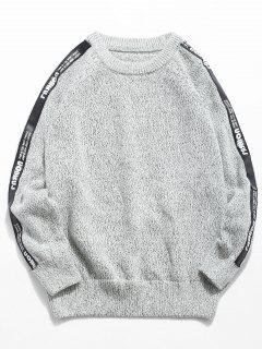 Side Letter Striped Patchwork Knit Sweater - Light Gray Xl