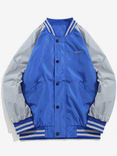 Graphic Windbreaker Baseball Jacket - Blue L