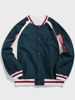 Color Block Embroidered Letter Baseball Jacket - Peacock Blue L