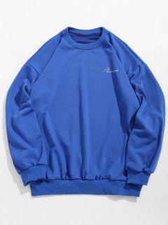Book Contents Print Sweatshirt - Blue Xl