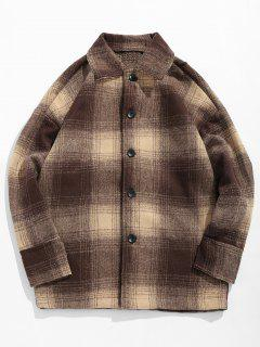 Plaid Print Woolen Jacket - Coffee 3xl
