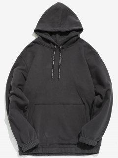 Solid Color Fleece Drawstring Hoodie - Dark Slate Grey M
