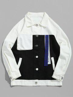 Color Block Pocket Denim Jacket - Black L