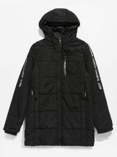 Sleeve Letter Striped Hooded Quilted Coat - Black Xs
