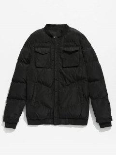 Solid Pockets Quilted Jacket - Black M