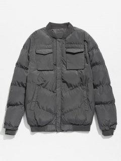 Solid Pockets Quilted Jacket - Dark Gray M