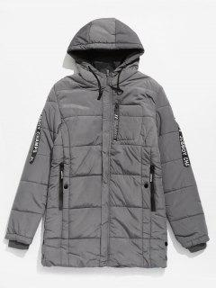 Sleeve Letter Striped Hooded Quilted Coat - Dark Gray M