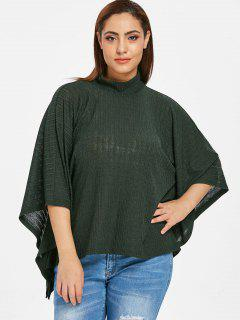ZAFUL Plus Size Batwing Knitwear Top - Dark Forest Green 2x