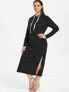 ZAFUL Plus Size Hooded Slit Pocket Dress - Black 2x