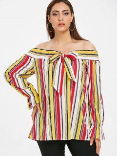 ZAFUL Plus Size Knotted Gestreifte Bluse - Multi 1x
