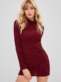 Turtleneck Knit Mini Tight Dress - Red Wine M