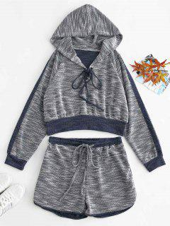 ZAFUL Lace Up Heather Hoodie And Shorts Set - Multi L
