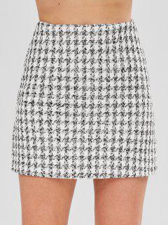 Tweed Mini Plaid Skirt - White M