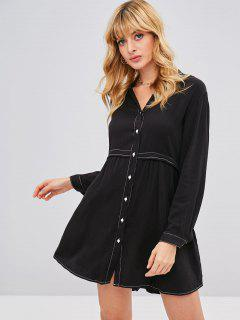 Contrasting Stitch Tunic Dress - Black S
