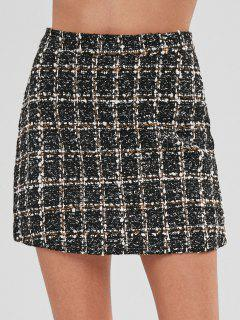 Short High Waisted Tweed Skirt - Multi-b Xl