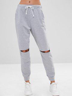 Slashed Knee Joggers Sweatpants - Light Gray L