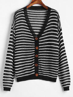 Button Up Striped Open Knit Cardigan - Black