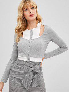 Contrast Trim Ribbed Button Up Crop Top - Light Gray M