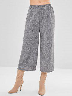 Marl Wide Leg High Waisted Pants - Gray