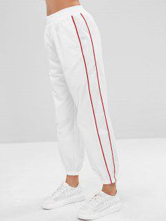 Contrast Binding High Wasited Track Pants - White L