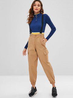 Side Pockets Suspender Pants - Khaki M