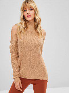 High Neck Cold Shoulder Sweater - Tan