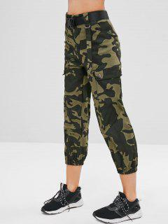 Belted Camouflage Jogger Pants - Woodland Camouflage L