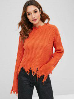 Crew Neck Distressed Sweater - Papaya Orange