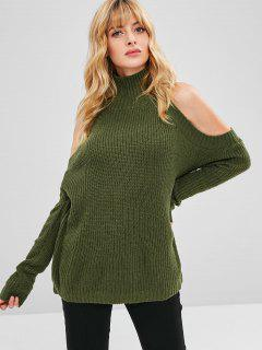 High Neck Cold Shoulder Pullover - Armeegrün