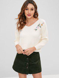 Floral Bestickter Gerippter Sweater - Weiß