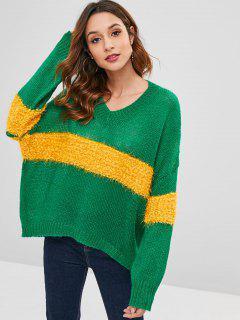Rayas De Cuello V Suéter De Gran Tamaño - Multicolor