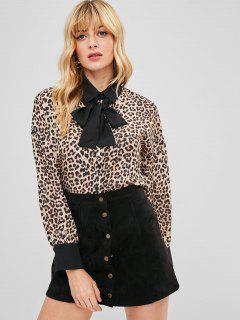 Camisa Con Estampado De Leopardo Con Lazo En Contraste - Leopardo M