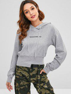 Asymmetric Hem Graphic Hoodie - Light Gray M