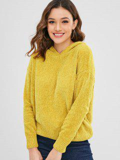 Solid Color Loose Fit Hoodie - Yellow L