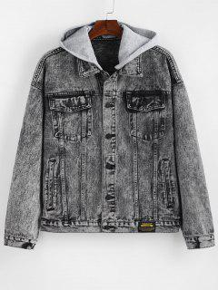 Detachable Hat Single Breasted Jean Jacket - Gray