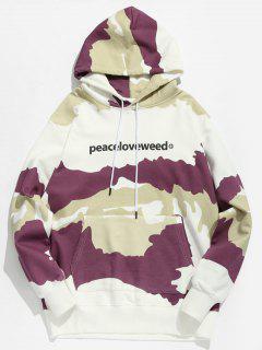 Letter Print Camouflage Hoodie - Viola Purple L