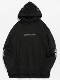 Embroidery Side Split Hoodie - Black S