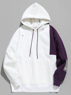 Hit Color Splicing Hoodie - White M