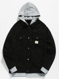 Vintage Patchwork Corduroy Jacket - Black M