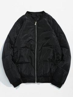 Solid Quilted Bomber Jacket - Black L