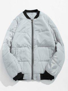Solid Quilted Bomber Jacket - Light Gray M