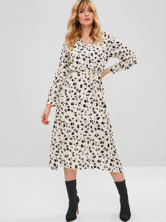 Floral Crossover Midi Dress - Multi L