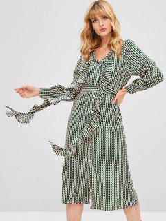 Printed Ruffles Midi Dress - Multi