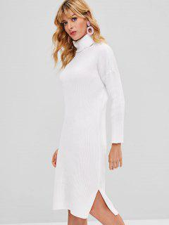 Turtleneck Slit Bodycon Sweater Dress - White