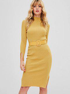 Bodycon Slit Belted Sweater Dress - Mustard