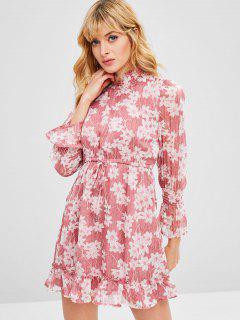 Long Sleeve Ruffle Floral Dress - Light Pink S