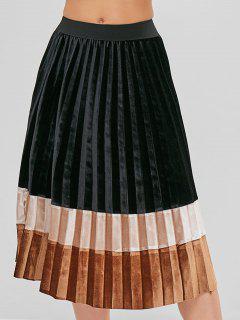 Falda Plisada Terciopelo Color Block - Multicolor