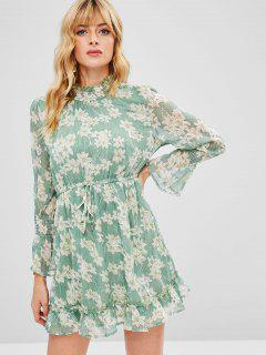 Long Sleeve Ruffle Floral Dress - Dark Sea Green L